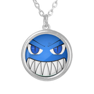Blue Monster Round Pendant Necklace