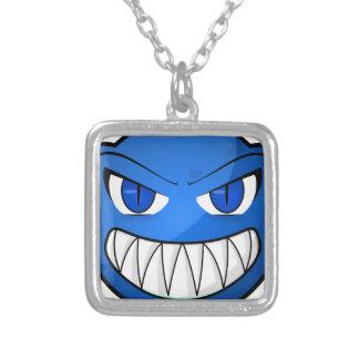 Blue Monster Square Pendant Necklace