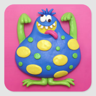 Blue Monster Square Sticker