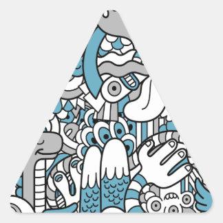 Blue monster triangle sticker