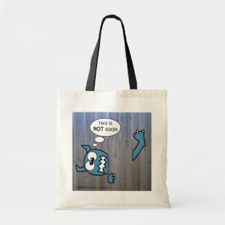 Blue Monster Stuck in Fence Tote Bag
