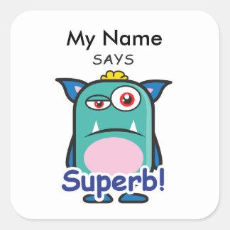Blue Monster - Superb! Square Sticker