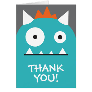 Blue Monster Thank You Card