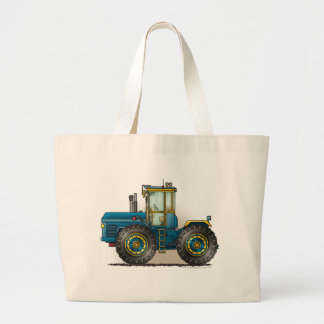 Blue Monster Tractor Bags/Totes Large Tote Bag