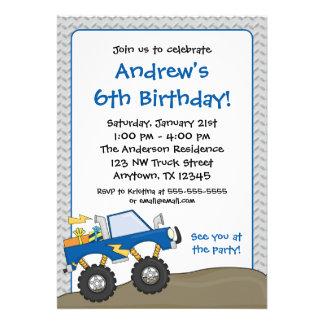 Blue Monster Truck Birthday Invitations