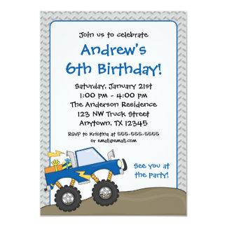 "Blue Monster Truck Birthday Invitations 5"" X 7"" Invitation Card"