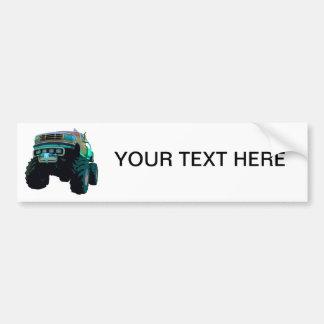 Blue Monster Truck Bumper Sticker