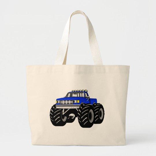 BLUE MONSTER TRUCK LARGE TOTE BAG