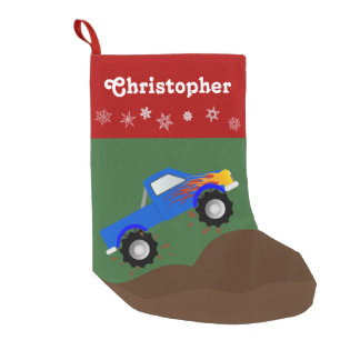 Blue Monster Truck Personalized Small Christmas Stocking
