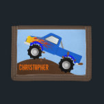 """Blue Monster Truck Personalized Wallet<br><div class=""""desc"""">A fun way to spend money! This monster truck wallet is a great gift for any child at heart.  Original vector art by Night Owl&#39;s Menagerie,  c. 2013.</div>"""