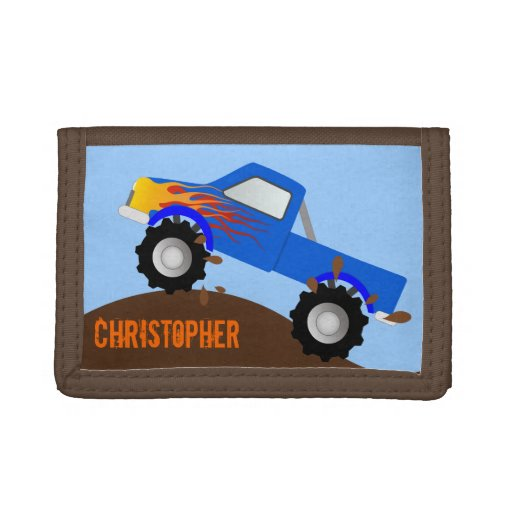 Blue Monster Truck Personalized Wallet