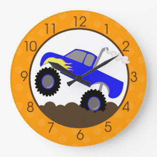 Blue Monster Truck Wall Clock with Orange/Browns