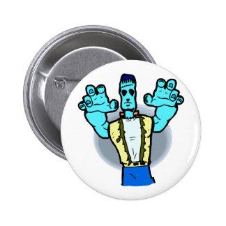 blue monster walking hands up halloween pins