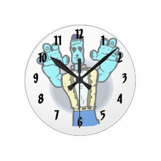 blue monster walking hands up halloween round clocks