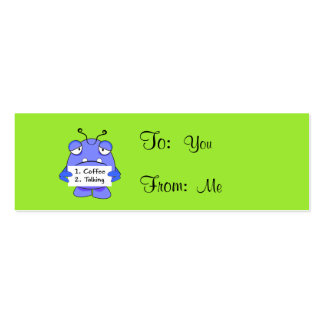 Blue Monster With Morning Coffee Rules Sign Mini Business Card