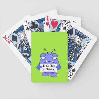 Blue Monster With Morning Coffee Rules Sign Bicycle Card Deck
