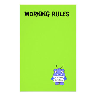 Blue Monster With Morning Coffee Rules Sign Stationery