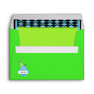 Blue Monster With Party Hat For Birthday Envelope