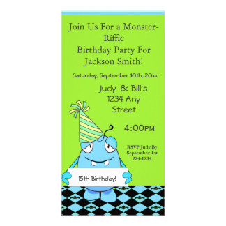 Blue Monster With Party Hat For Birthday Photo Card