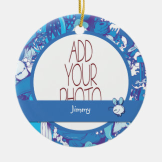 Blue Monsters Ceramic Ornament
