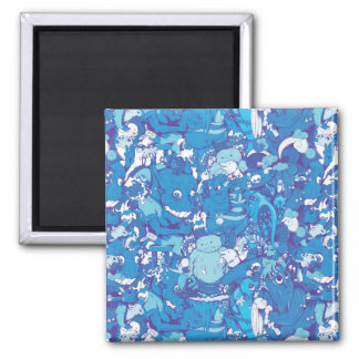 Blue Monsters 2 Inch Square Magnet