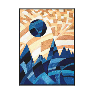 Blue Moon and Mountains Abstract Art Canvas Print
