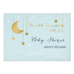 Moon And Stars Baby Shower Invitations Announcements Zazzle