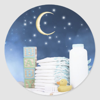 Blue Moon and Stars Baby Shower Round Stickers
