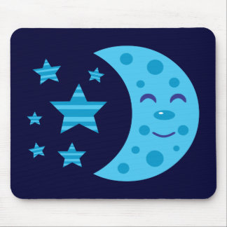 Blue Moon and Striped Stars Mouse Pad