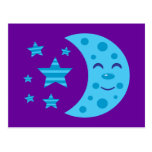 Blue Moon and Striped Stars Postcard
