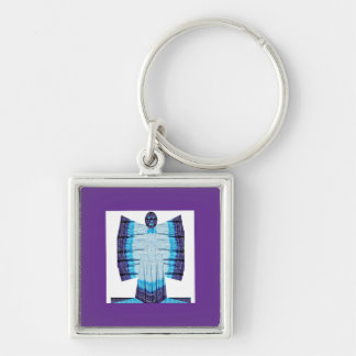 Blue Moon Angel Butterfly made of Cotton Fabric 99 Silver-Colored Square Keychain