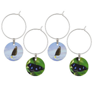 Blue Moon Butterfly Great Eggfly Wine Glass Charms
