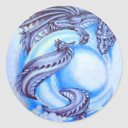 Blue Moon Dragon Classic Round Sticker