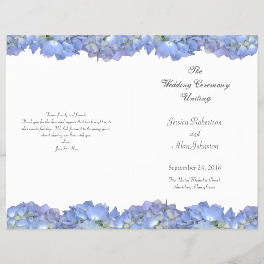 Blue Moon Folded Floral Wedding Program Template Zazzlecom - Floral wedding program templates