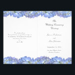 """Blue Moon Folded Floral Wedding Program Template<br><div class=""""desc"""">Light blue floral border, folded wedding programs. Print your own wedding ceremony programs on decorated paper. Both sides of 8.5 x 11 inch paper have templates for information including a thank-you note from the bride and groom. Blue hydrangea flowers border the top and bottom, and paper must be folded after...</div>"""
