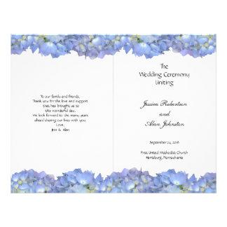 Blue Moon Folded Hydrangea Wedding Program