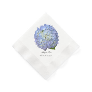 Blue Moon Hydrangea Custom Wedding Paper Napkin