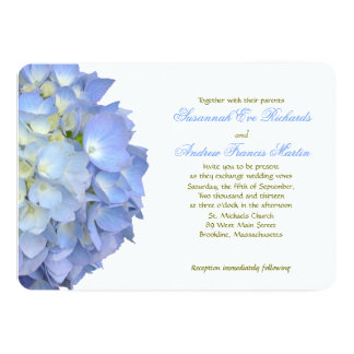 Blue Moon Hydrangea Horizontal Wedding Invitation Personalized Invitations