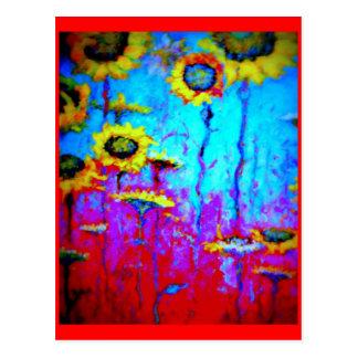 Blue Moon Light Sun Flowers by Sharles Postcard