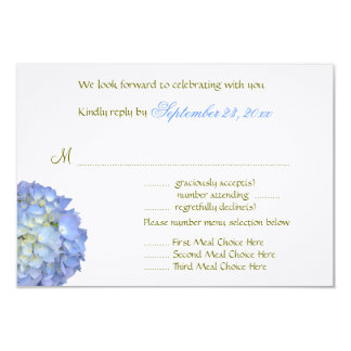 "Blue Moon Menu Selection Wedding Reply Card 3.5"" X 5"" Invitation Card"