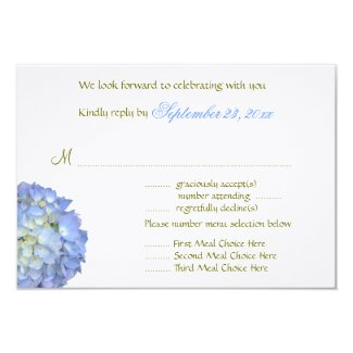 Blue Moon Hydrangea Horizontal Wedding Invitation