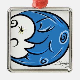 Blue Moon Metal Ornament