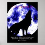 Blue Moon Motivational Leadership Wolf Poster