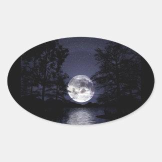 Blue Moon Oval Sticker