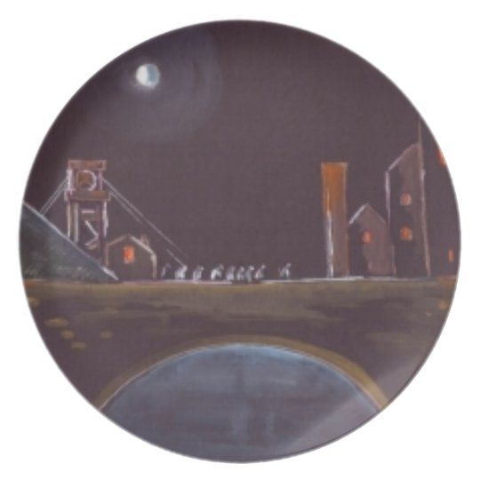 Blue moon over bridge Plate