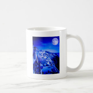 Blue Moon Over Fira Santorini Coffee Mug