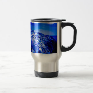 Blue Moon Over Fira Santorini Travel Mug