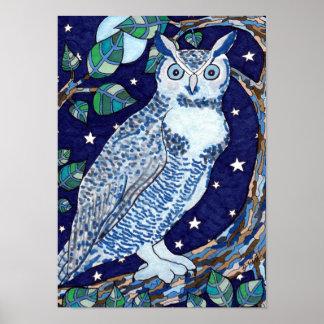 Blue Moon Owl Folk Art Poster