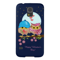 Blue moon owls in love & custom text galaxy s5 case