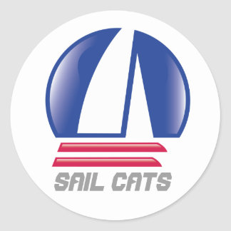 Blue Moon_Pontoon Racing_SAIL CATS Classic Round Sticker